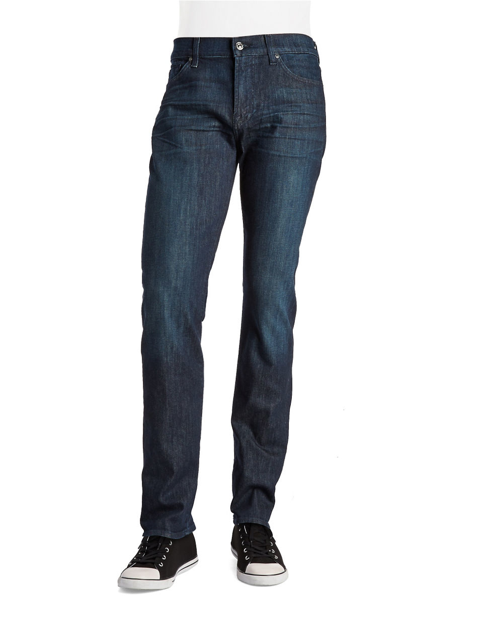 for all mankind slim straight jeans in blue for men lyst. Black Bedroom Furniture Sets. Home Design Ideas