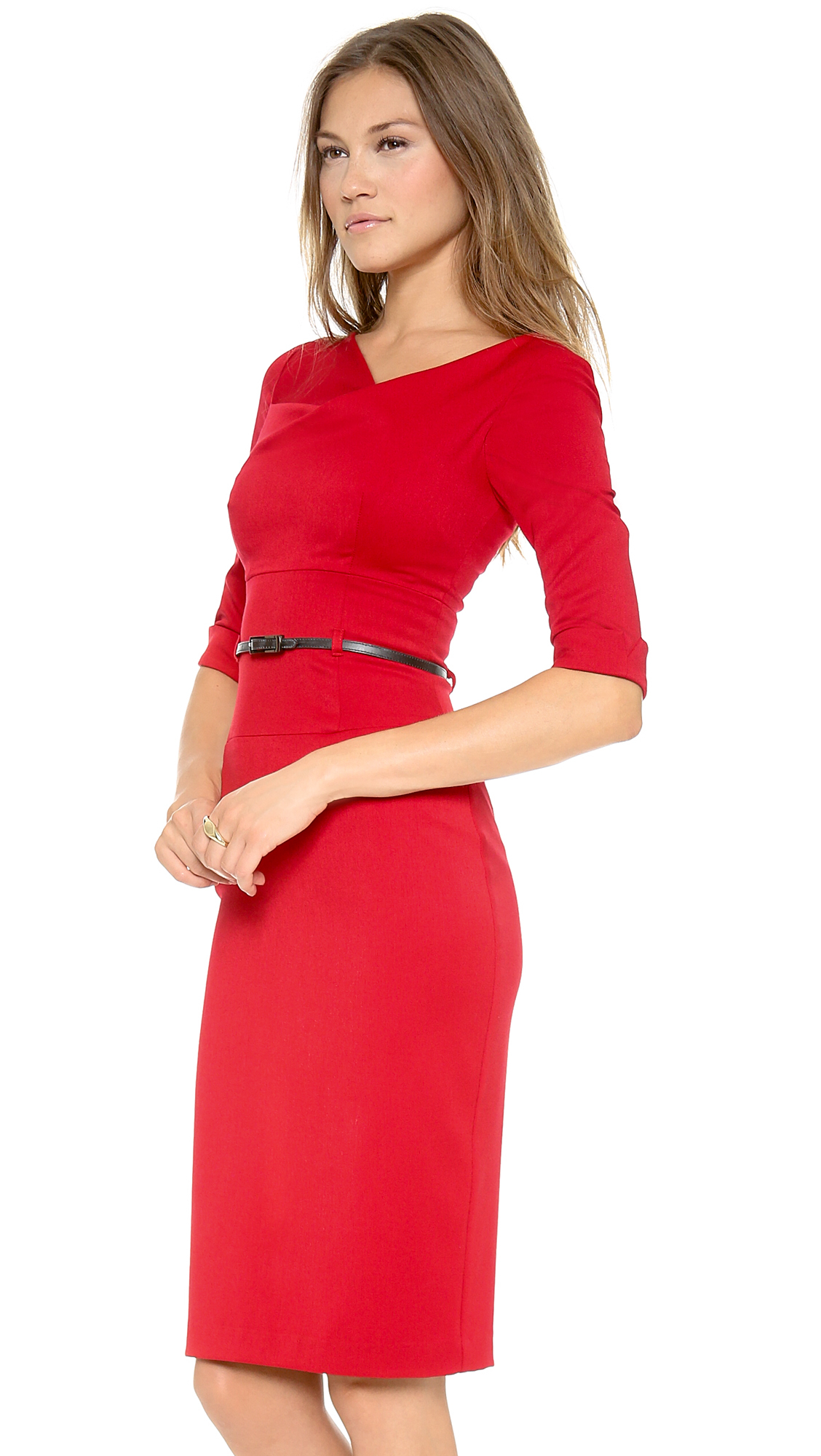 Black Halo 3 4 Sleeve Jackie O Dress In Red Lyst