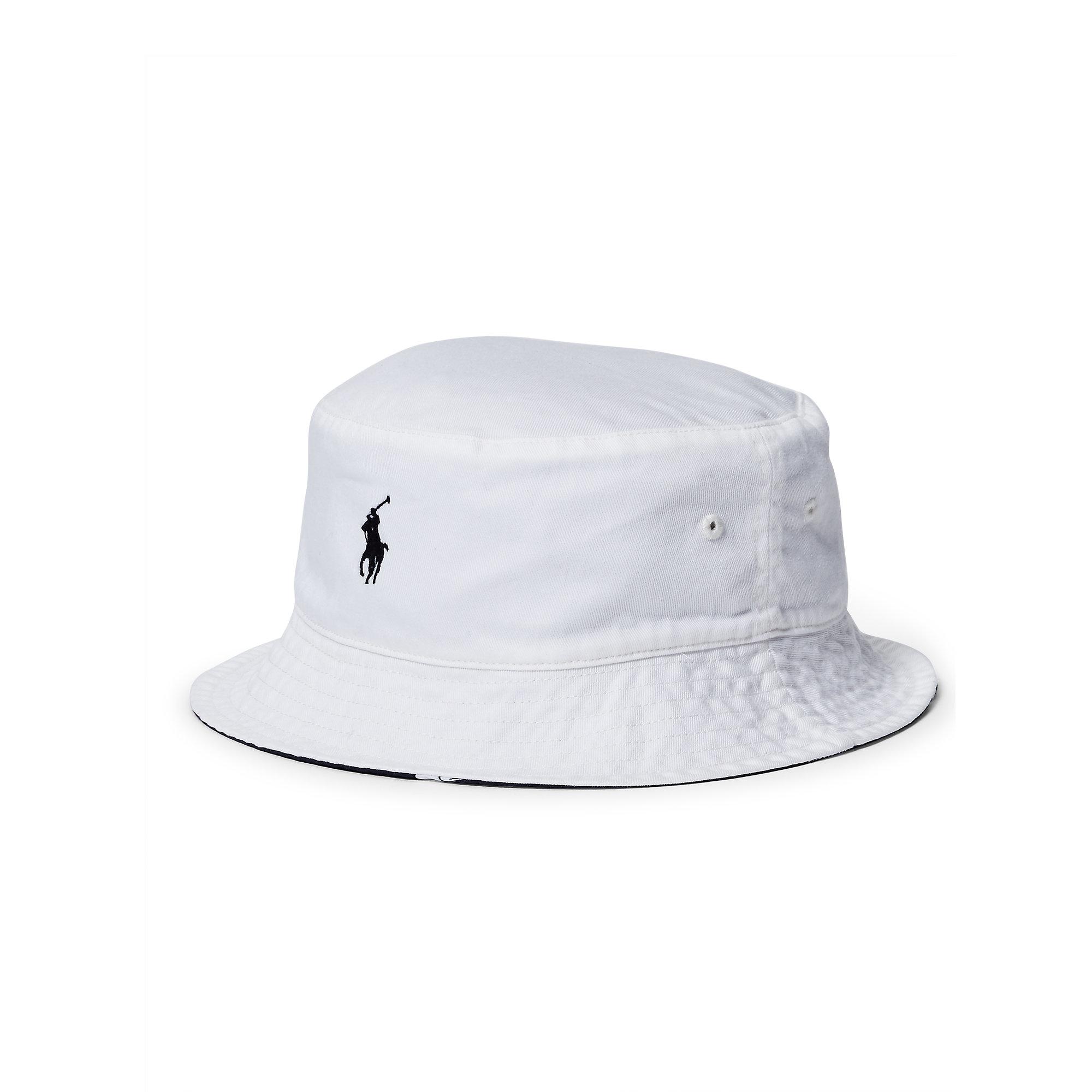 9b99de5ab09 Lyst - Polo Ralph Lauren Reversible Twill Bucket Hat in White for Men