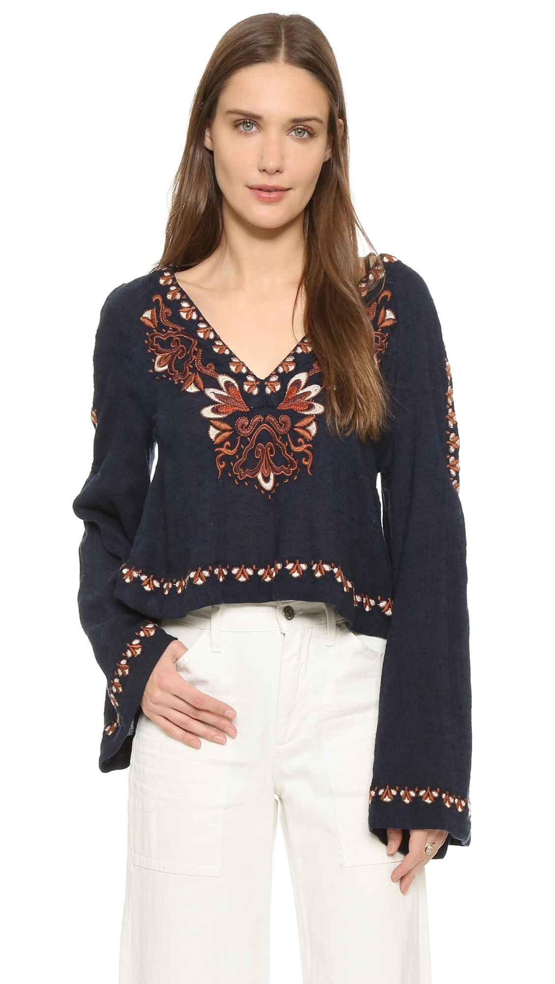 Free People High Times Embroidered Top In Blue