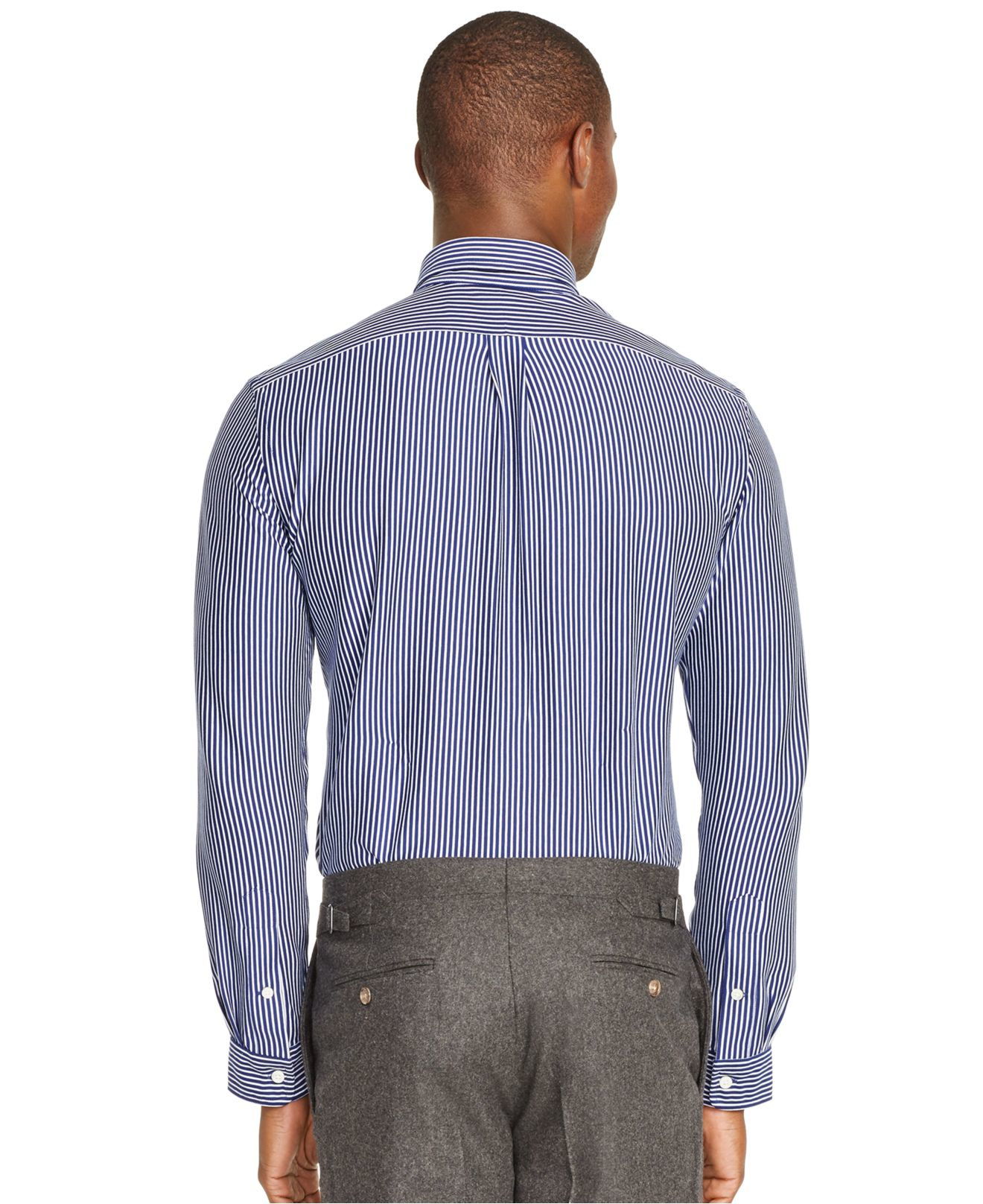 polo ralph lauren striped knit dress shirt in blue for men