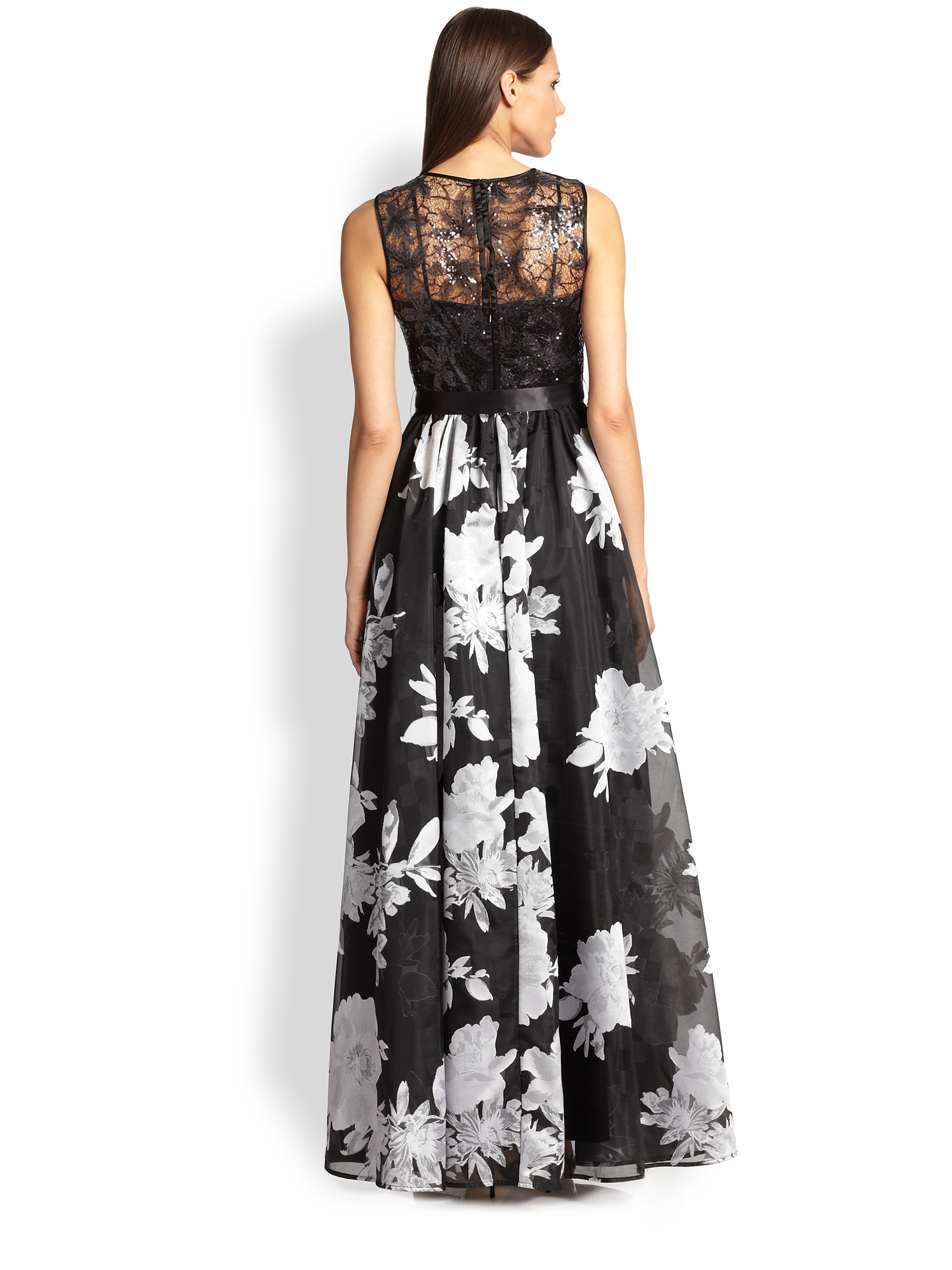Teri Jon Sequin Lace Top Amp Layered Skirt Gown In Black