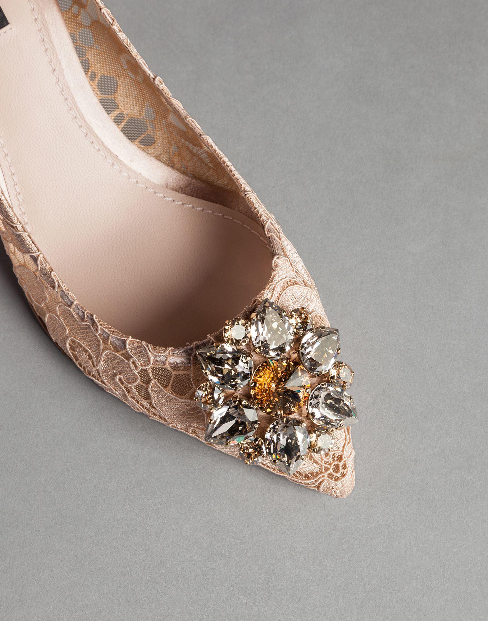 b9075cc79ac9 Lyst - Dolce   Gabbana Bellucci Embellished Lace Pumps in Natural
