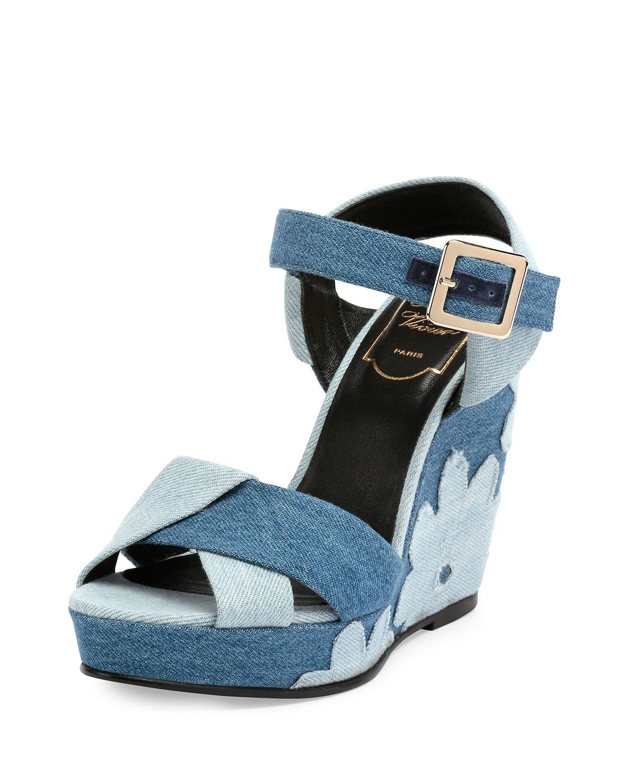 real cheap online affordable Roger Vivier Denim Peep-Toe Heel... outlet websites discount big sale 6Pxfd