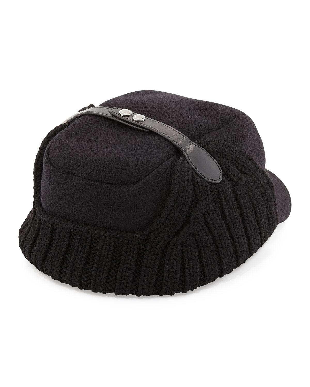 62222faf541 Lyst - Prada Wool Knit Trapper Hat in Black