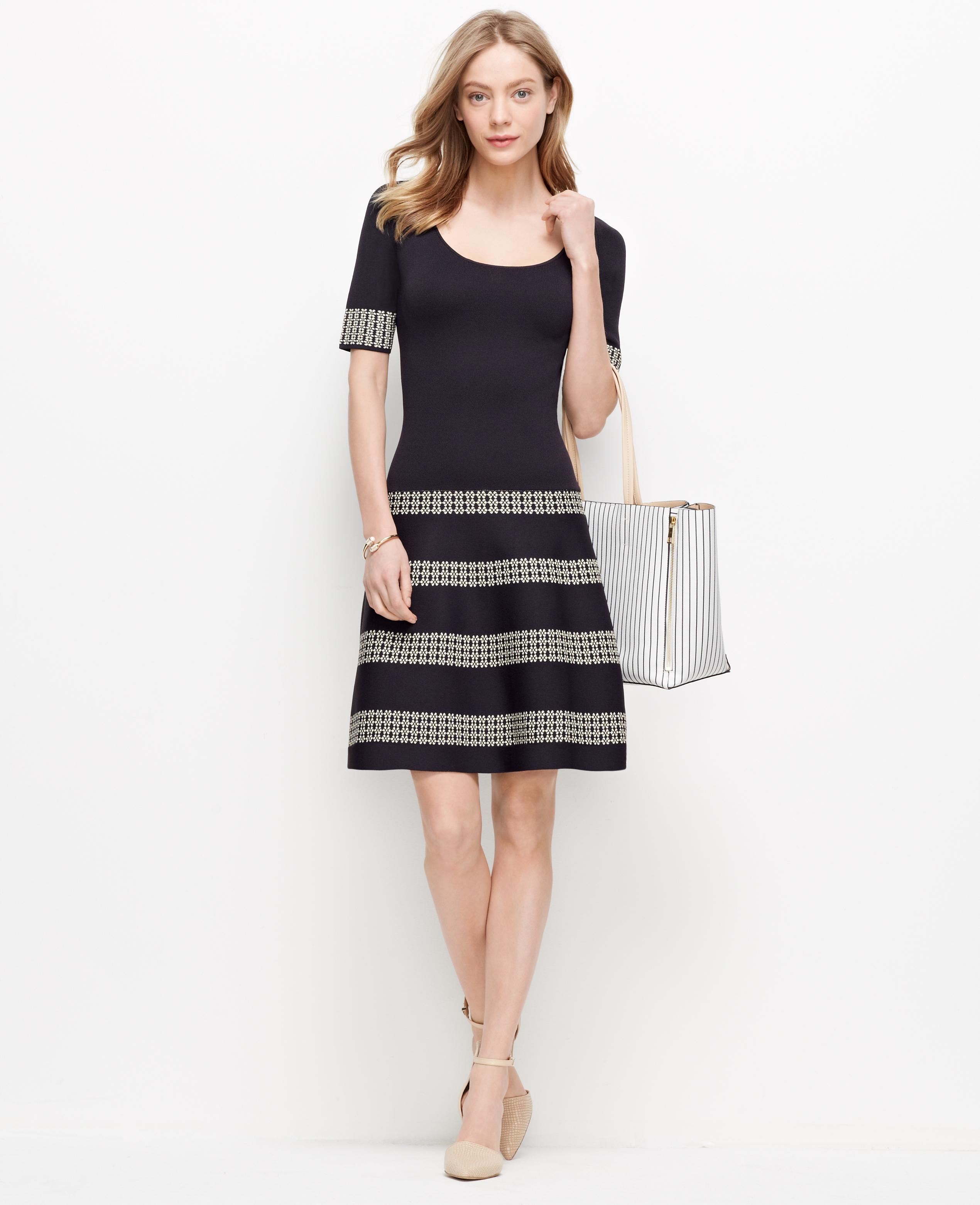 Ann taylor petite daisy striped sweater dress in blue lyst for Ann taylor loft fashion island