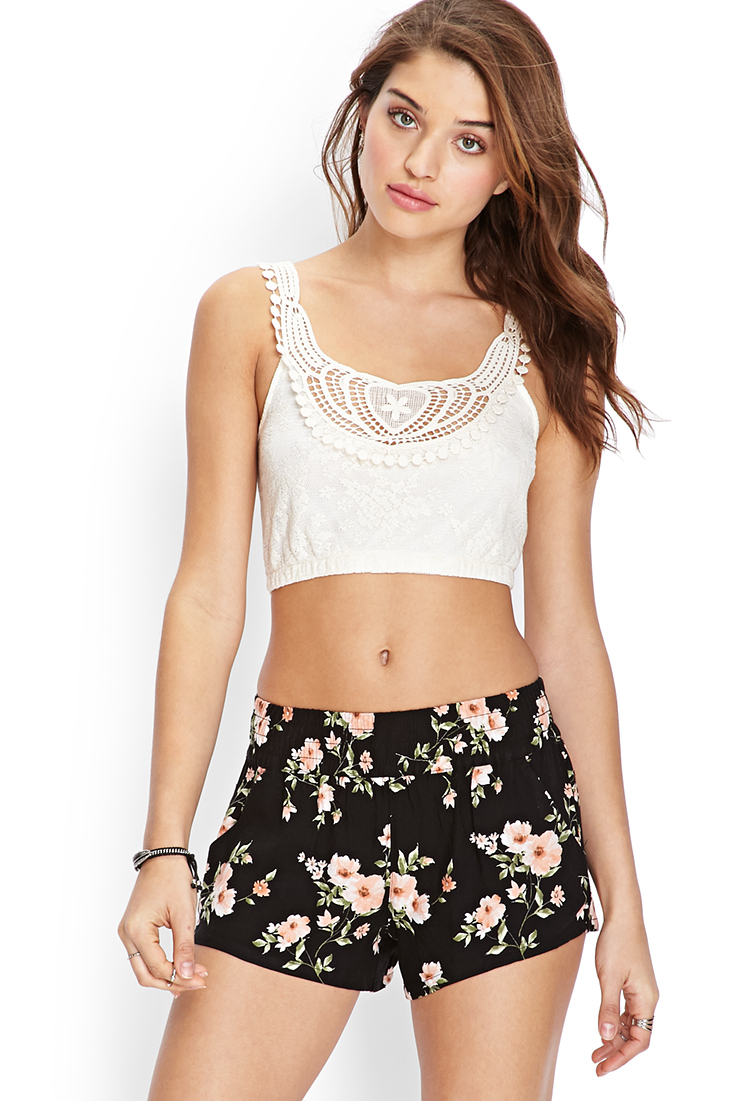 71815c762d332 Lyst - Forever 21 Lace   Crochet Crop Top You ve Been Added To The ...
