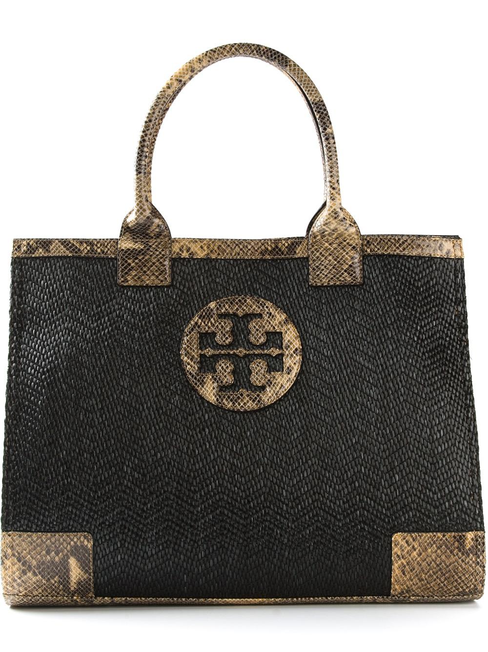 Tory Burch Ella Mini Tote Black Black Tote Handbags Lyst
