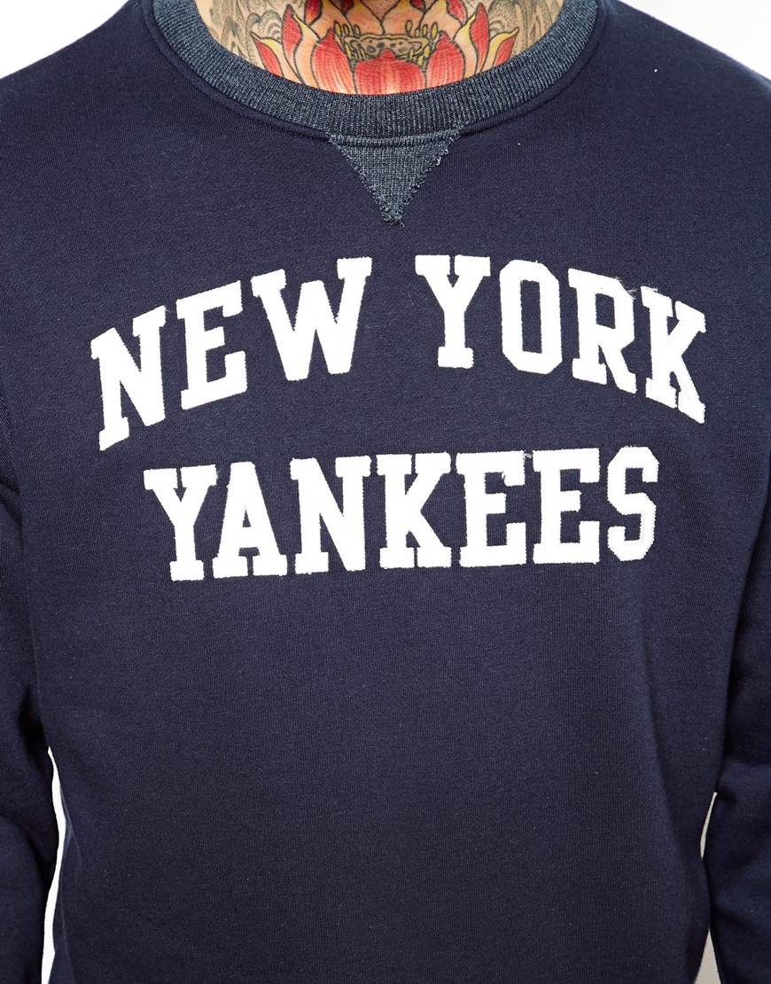 promo code 0f33c 88190 Majestic Blue Ny Yankees Sweatshirt with Crew Neck for men