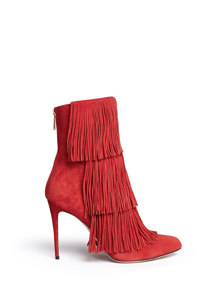 paul andrew taos suede fringe boots in lyst