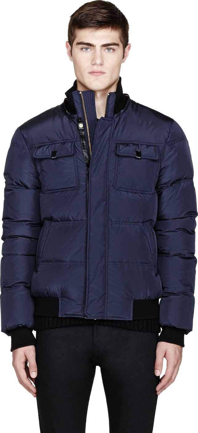 Lyst Mackage Navy Blue Quilted Down Gary Jacket In Blue