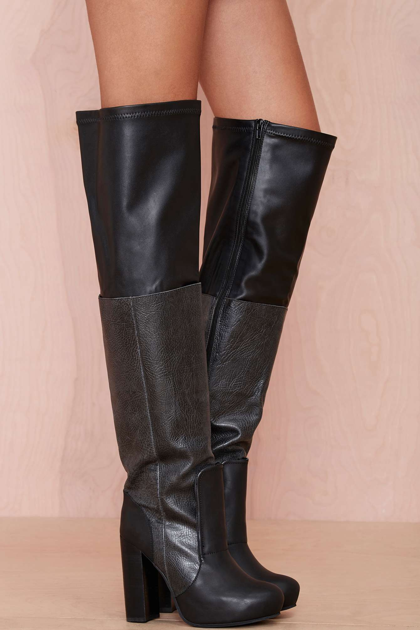 Nasty Gal Elvira Leather Thigh High Boot In Black Lyst