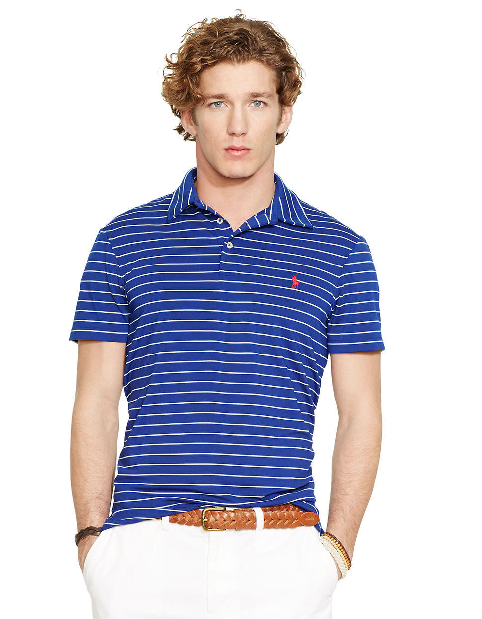 Lyst Polo Ralph Lauren Striped Performance Polo Shirt In