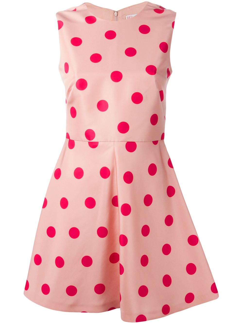 Red Valentino Flared Polka Dot Dress In Pink Pink