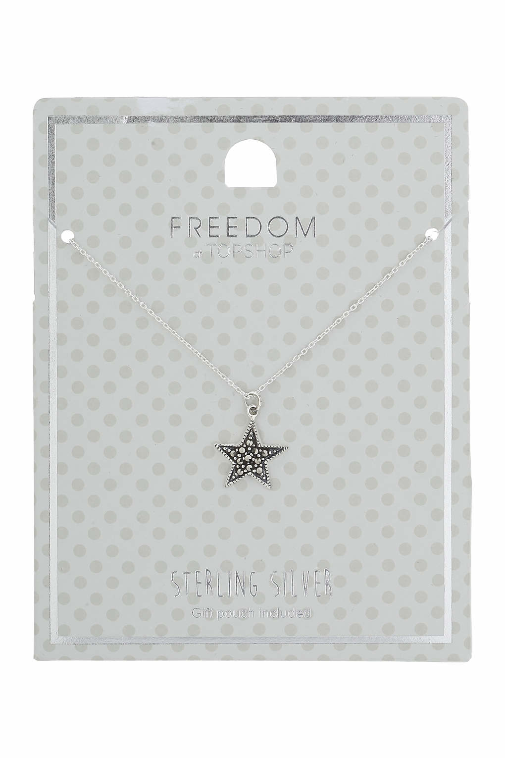 TOPSHOP Sterling Silver Star Ditsy Necklace in Grey (Grey)
