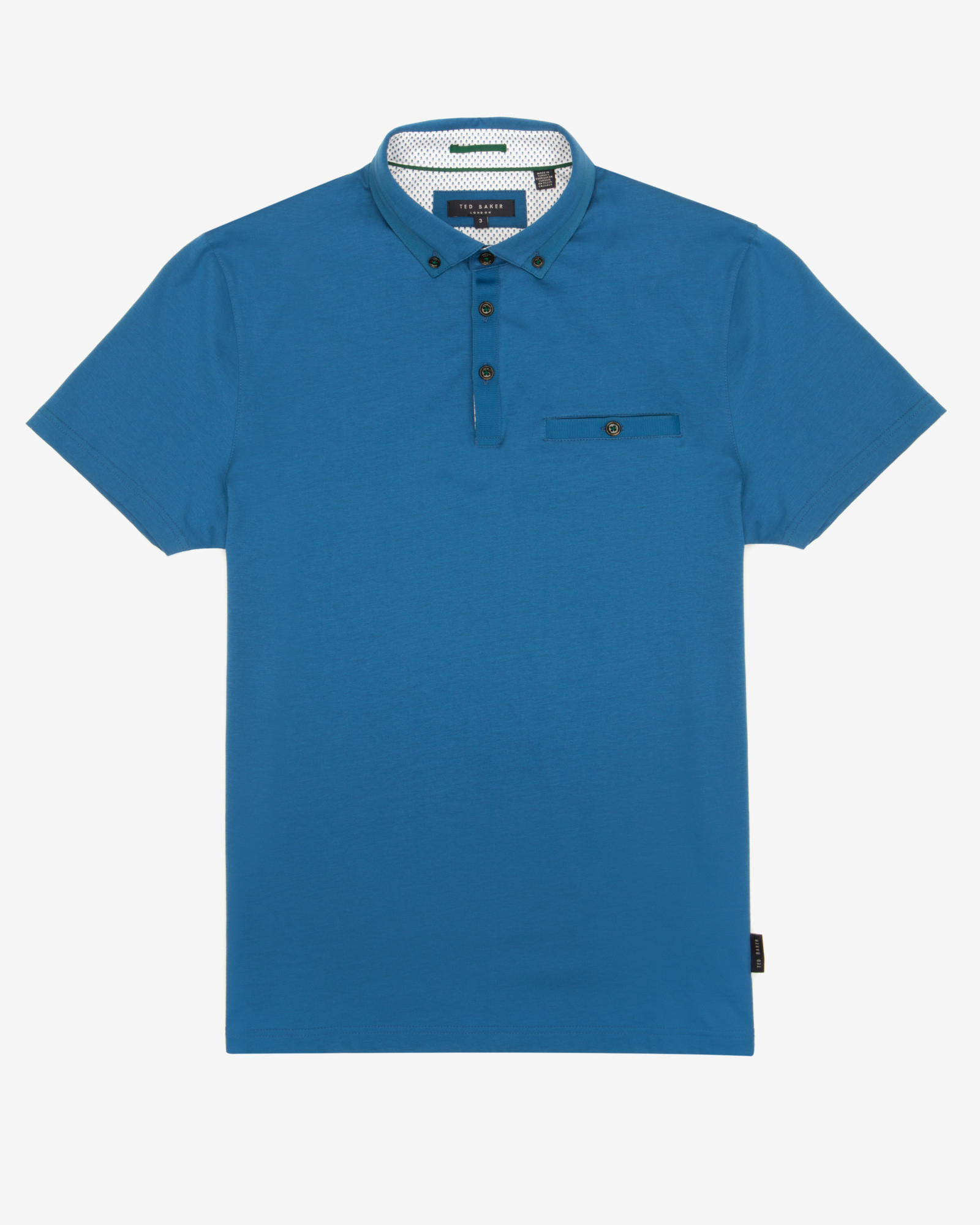 Ted baker classic polo shirt in blue for men mid blue lyst for Ted baker mens polo shirts