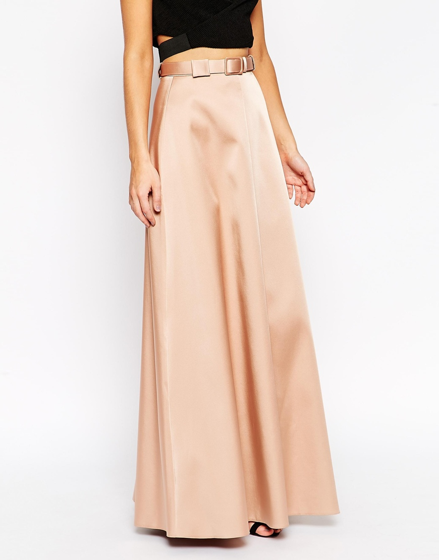 asos premium maxi skirt in bonded satin with belt in