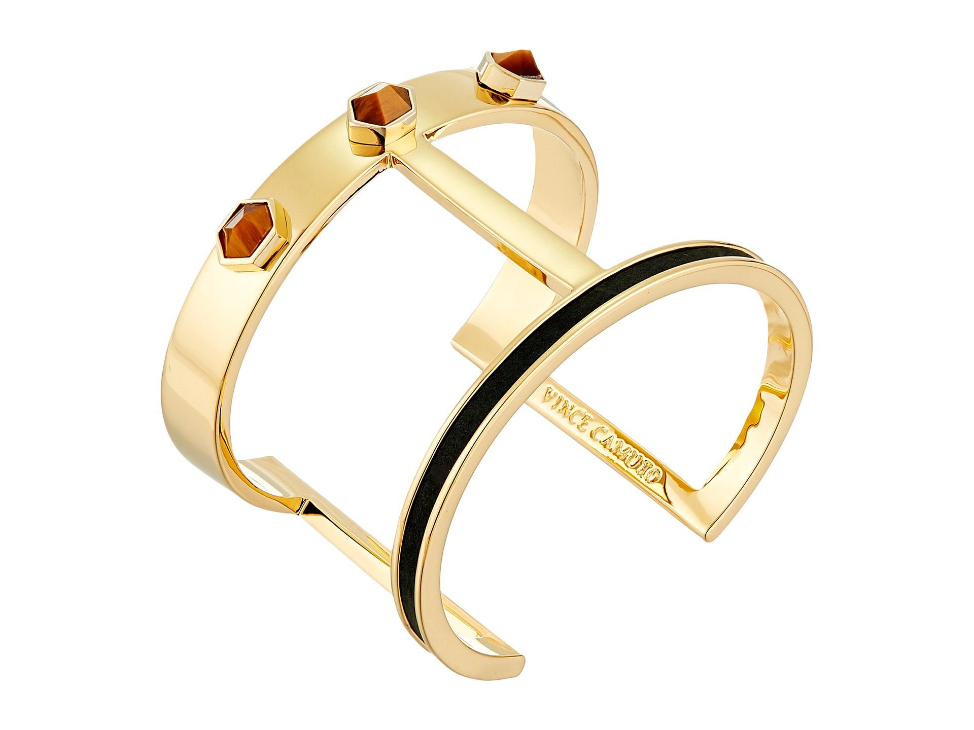 fd834493696 Vince Camuto Stone & Leather T Bar Cuff Bracelet in Metallic - Lyst