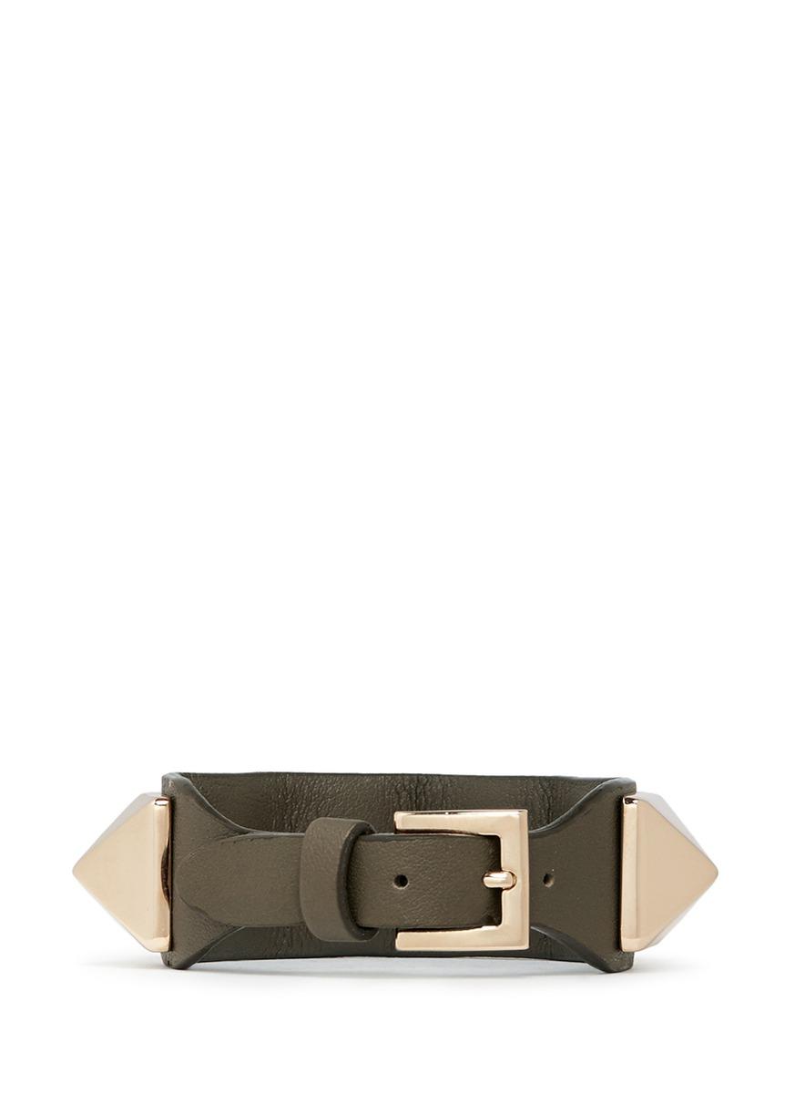 Valentino Rockstud Macro Leather Bracelet In Metallic Lyst