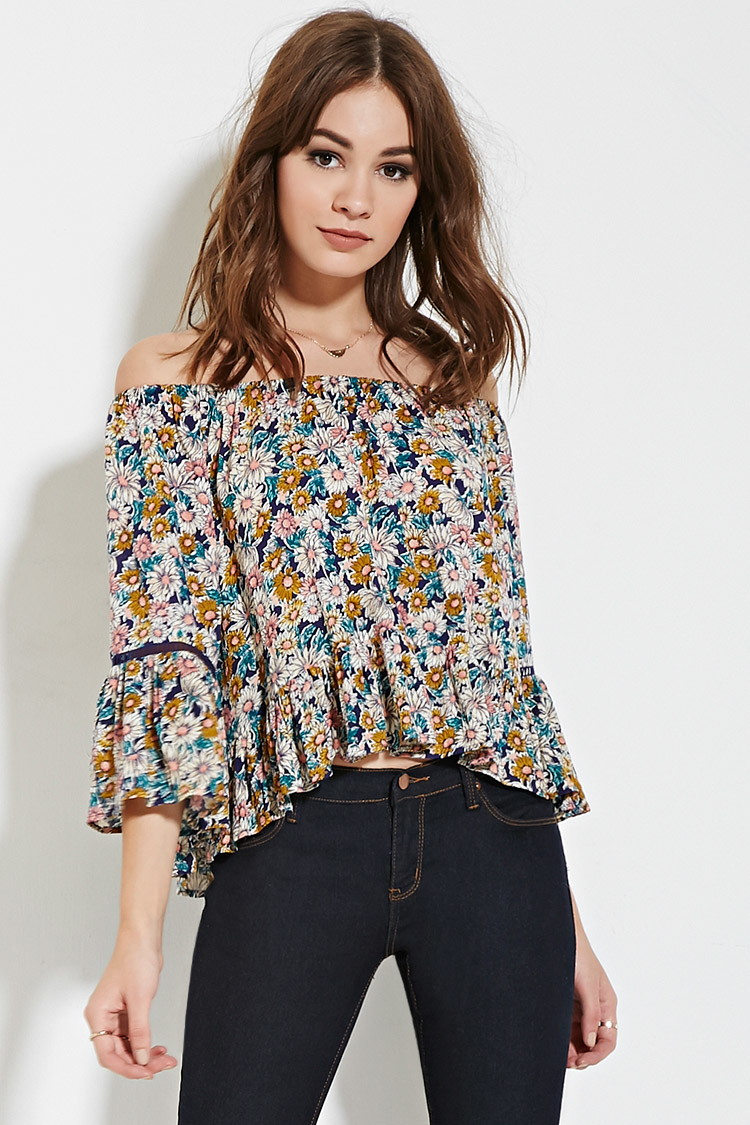 7fbfce84acc7bf Lyst - Forever 21 Floral Off-the-shoulder Top