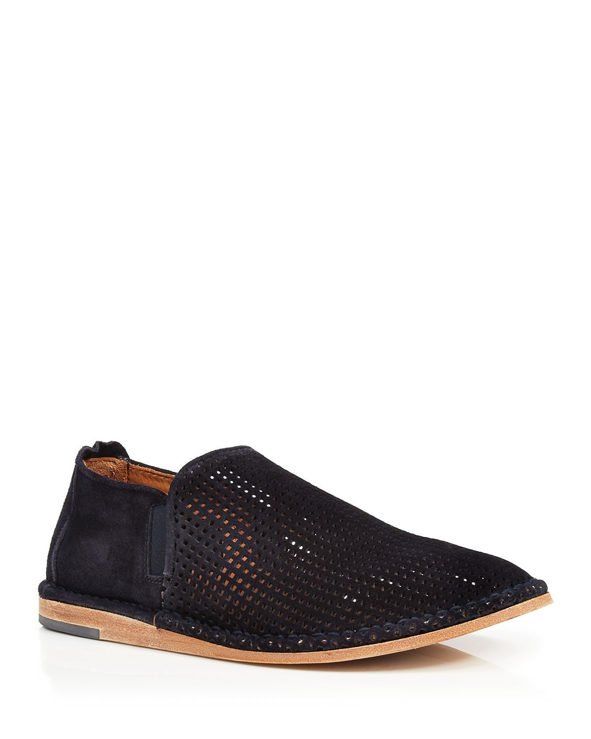 vince nico 2 perforated sport suede slip on boots in blue
