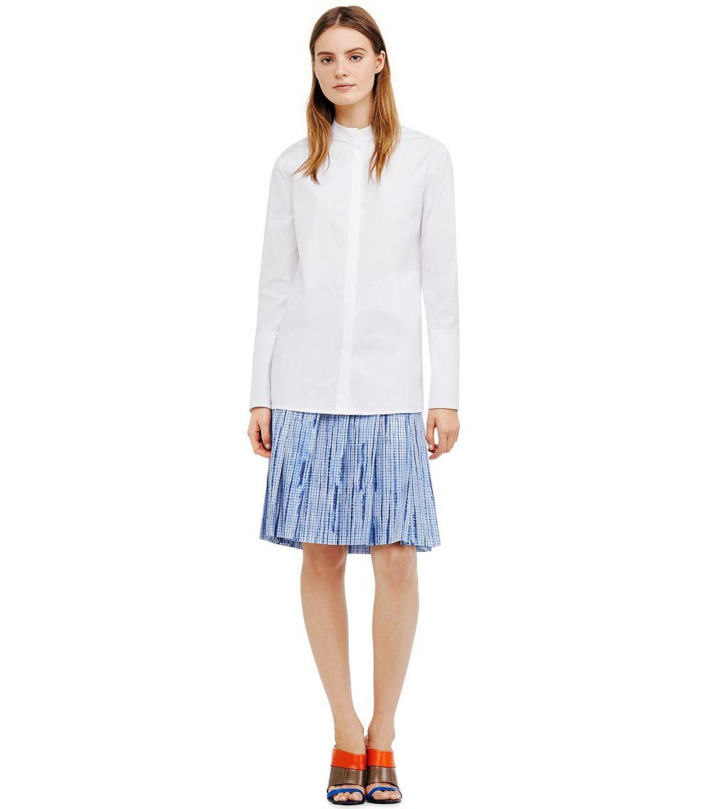 Tory burch poplin long sleeve shirt in white lyst for Tory burch button down shirt