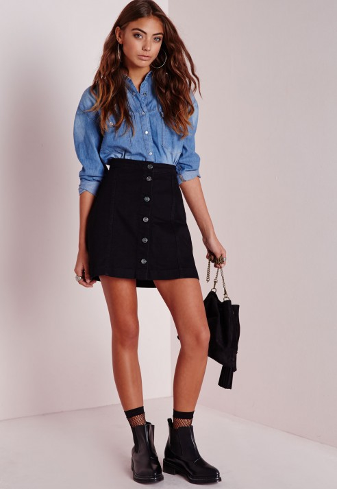 Missguided A-line Button Through Skirt Black in Black | Lyst