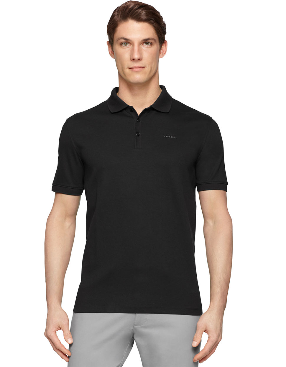 Calvin klein pima polo shirt in black for men lyst Man in polo shirt