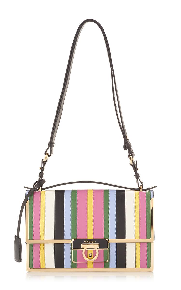 628419a0e291 Lyst - Ferragamo Rainbow Stripe Leather Aileen Shoulder Bag in Pink