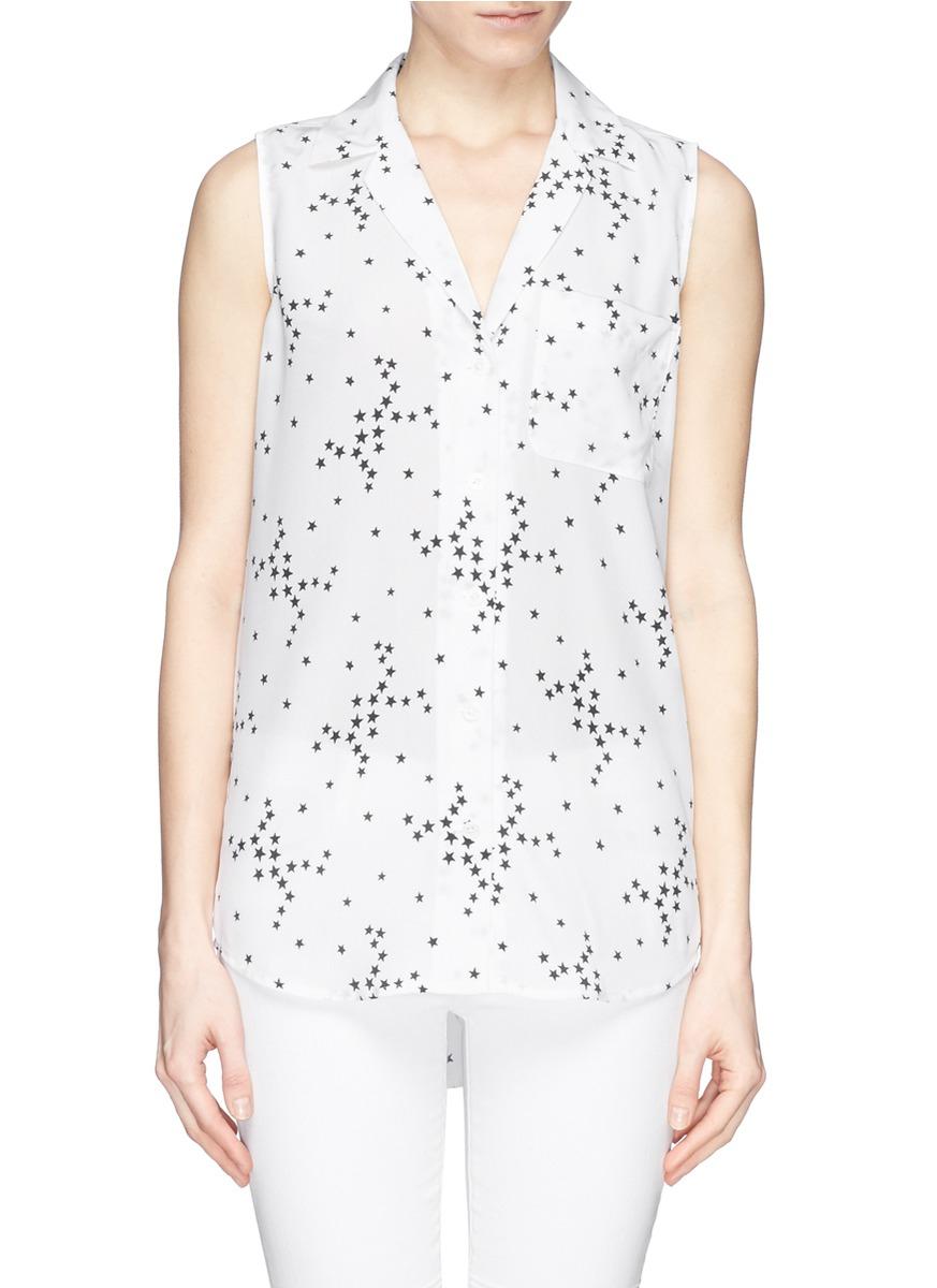 b1e2722cece87 Lyst - Equipment  Sleeveless Keira  Star Print Silk Shirt in White