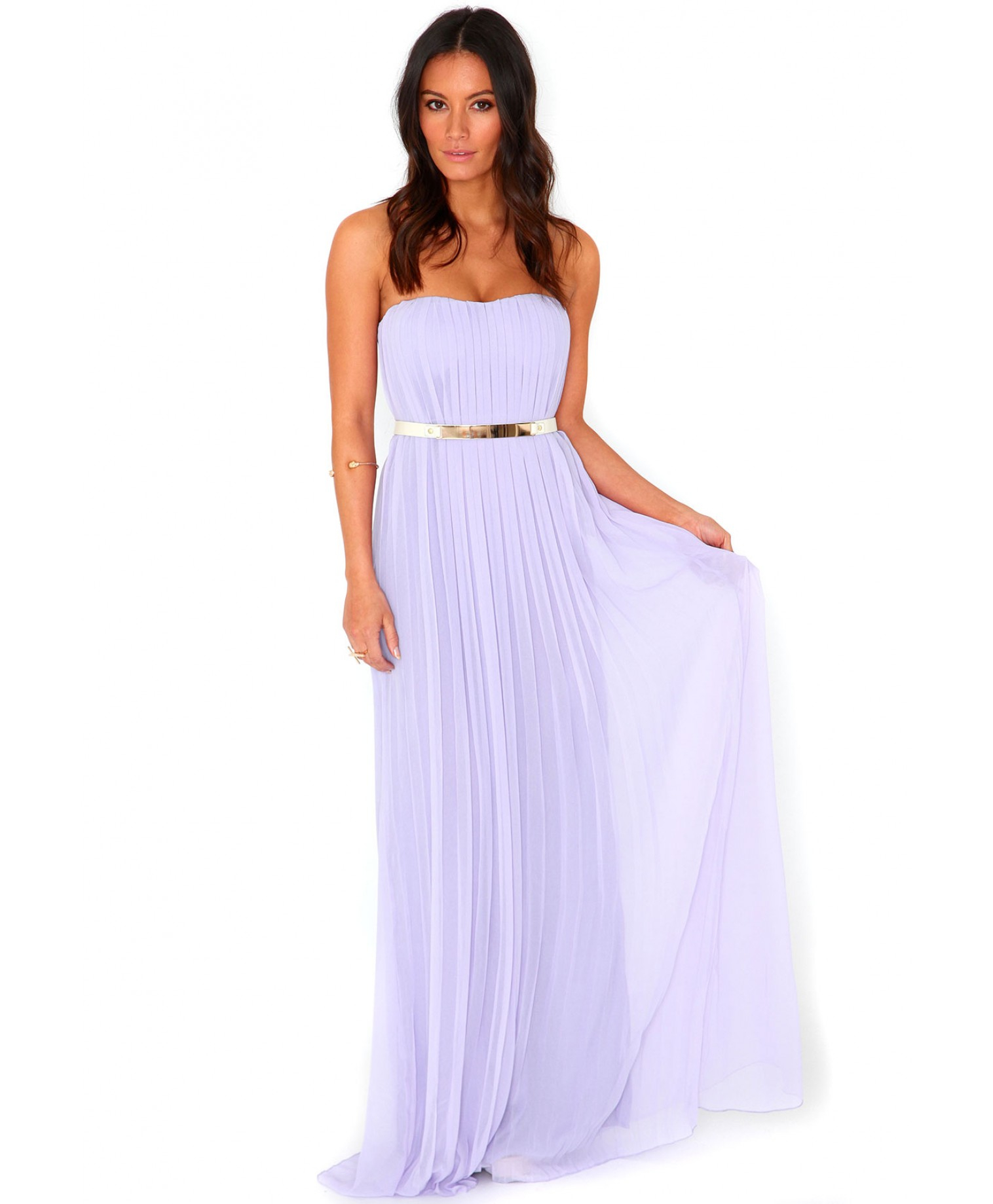 Missguided Abelone Pleated Bandeau Maxi Dress in Lilac in Purple ...