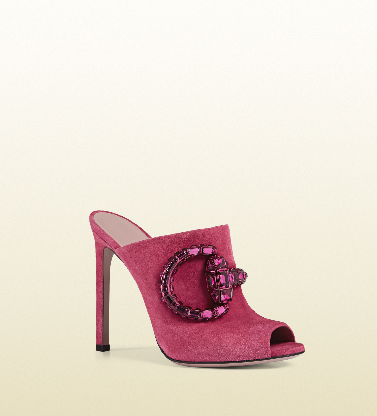 472c108807608d Lyst - Gucci Maxime Crystal Covered Horsebit Suede Sandal in Pink