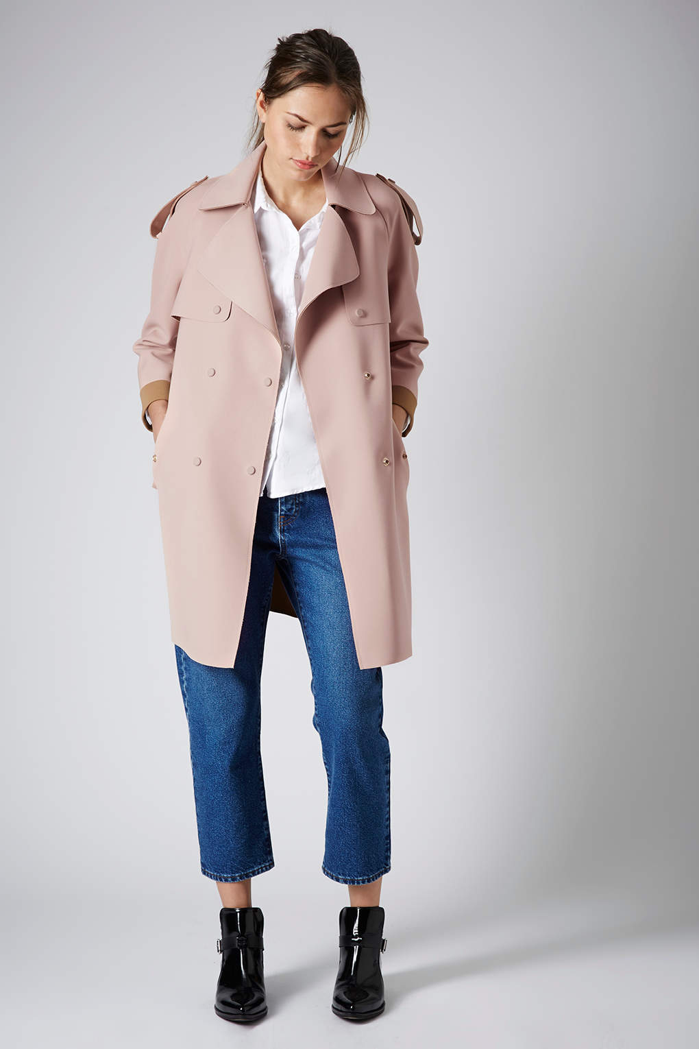 Lyst Topshop Bonded Trench Coat In Pink