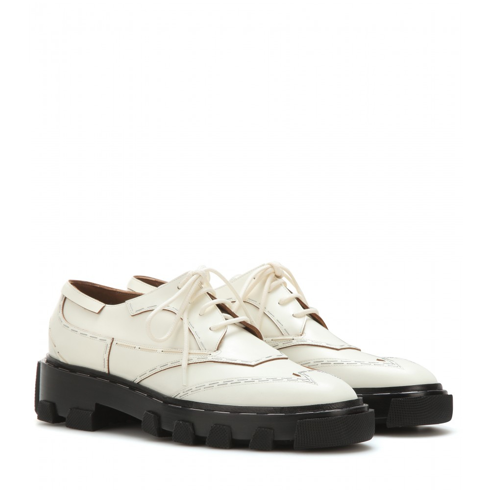 Balenciaga Chunky Leather Derby Shoes In Natural Lyst