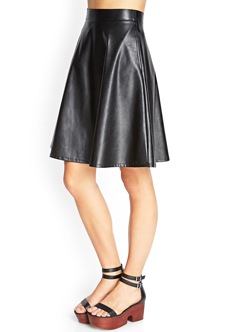 forefront of the times best deals on look for Forever 21 Faux Leather A-line Skirt in Black - Lyst