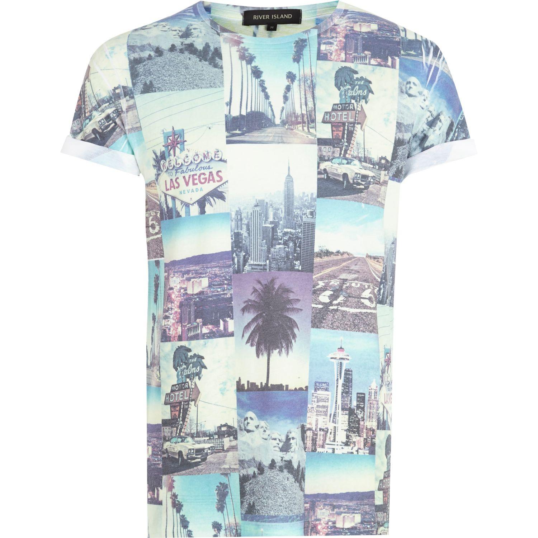 Lyst river island white las vegas photo print t shirt in for Las vegas shirt printing