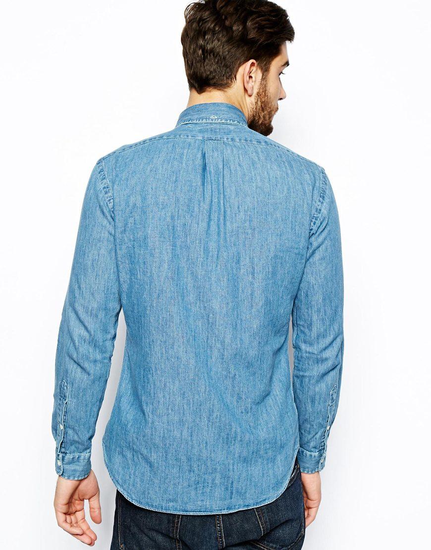 Polo Dark Ralph Wash Lauren For Slim Shirt In Denim Fit Blue Men n0v8wNmO