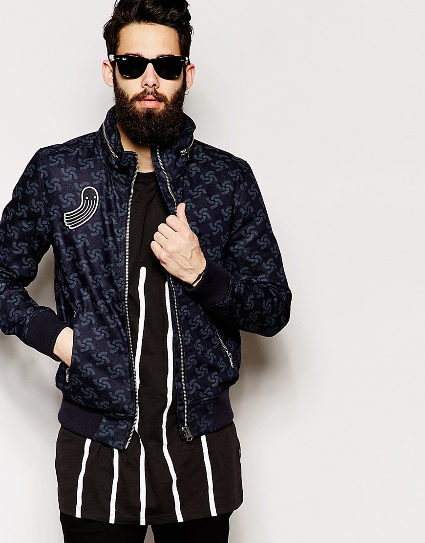 g star raw for the oceans jacket new fallden printed raw denim bomber in blue for men lyst. Black Bedroom Furniture Sets. Home Design Ideas