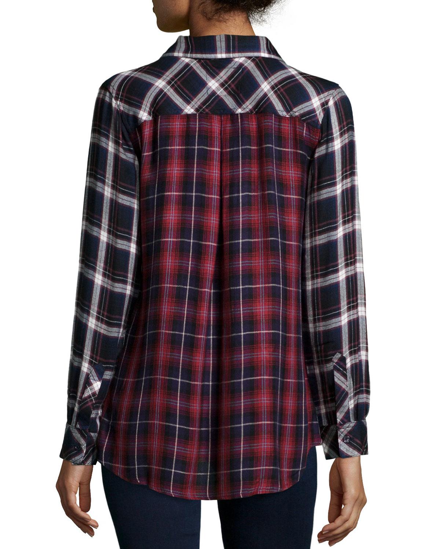 Rails liza two tone plaid long sleeve shirt in blue navy for Navy blue plaid shirt