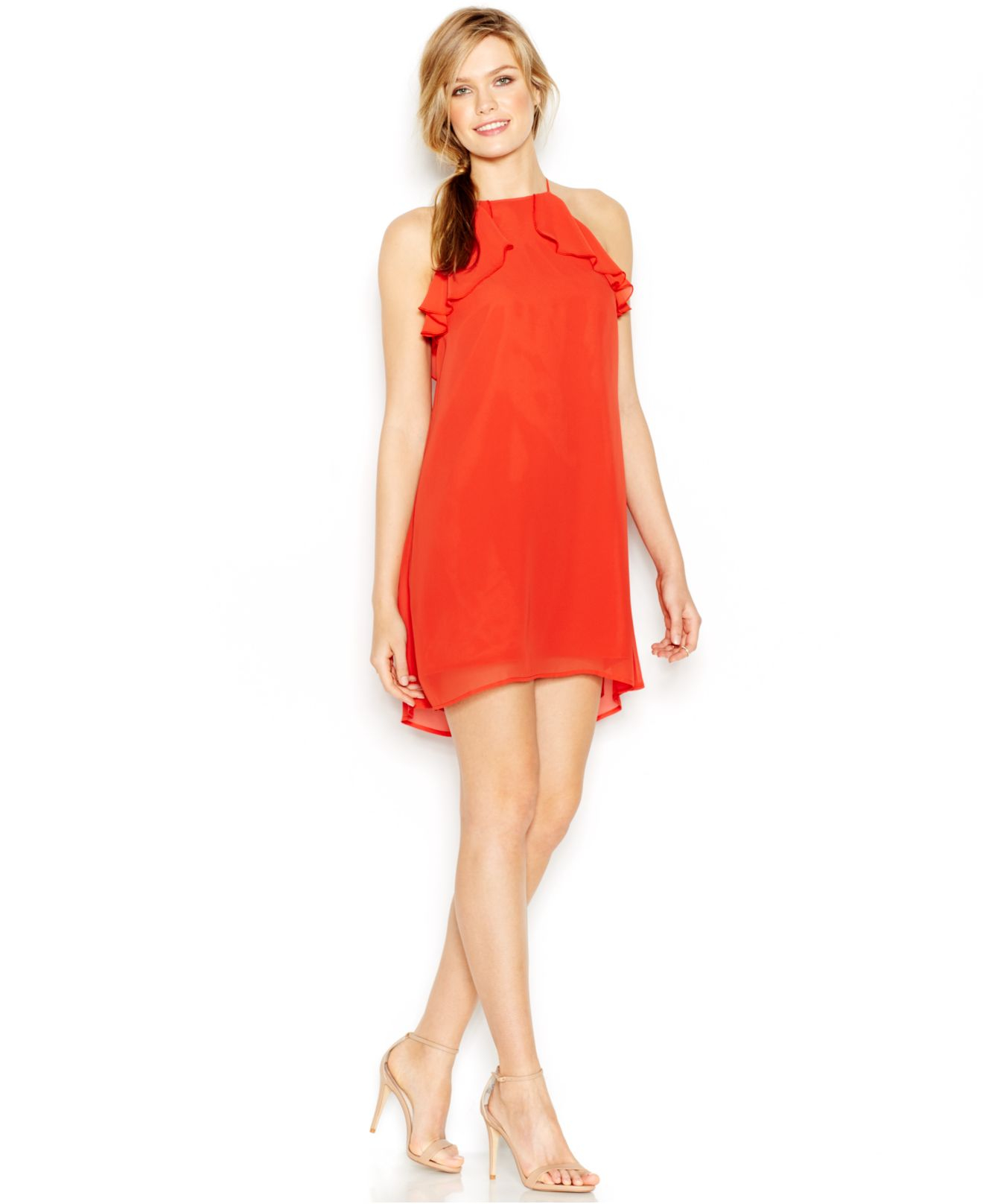 Lyst - BCBGeneration Ruffle Halter Shift Dress in Red fab8f7030