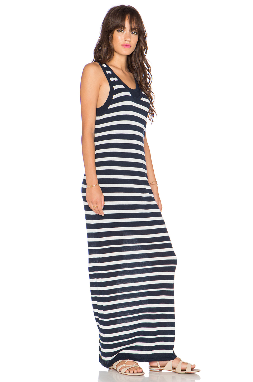 Splendid Cotton Double Layer Stripe Dress In Navy Amp White
