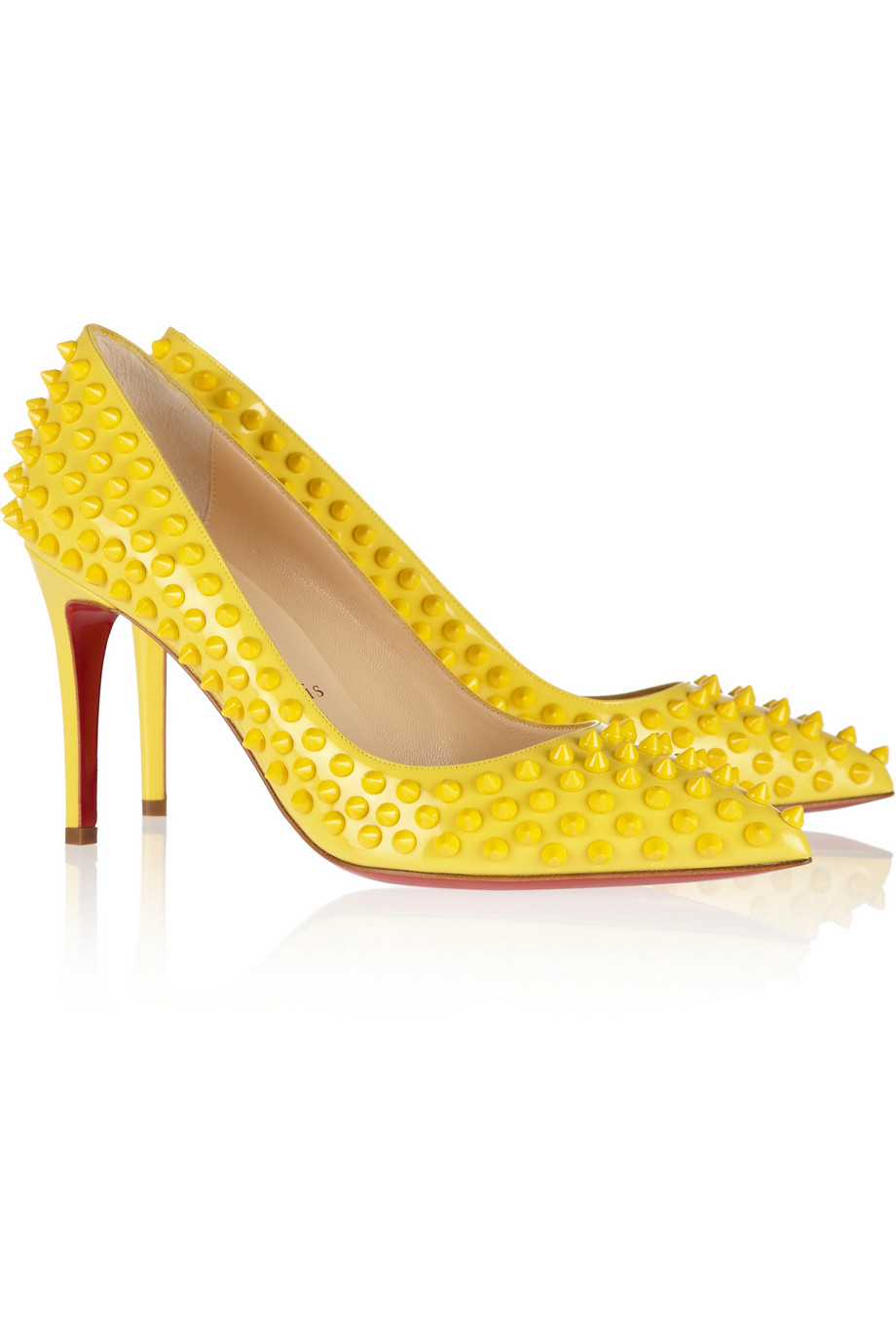 c2d5831a58ae Lyst - Christian Louboutin Pigalle Spikes 85 Patentleather Pumps in ...