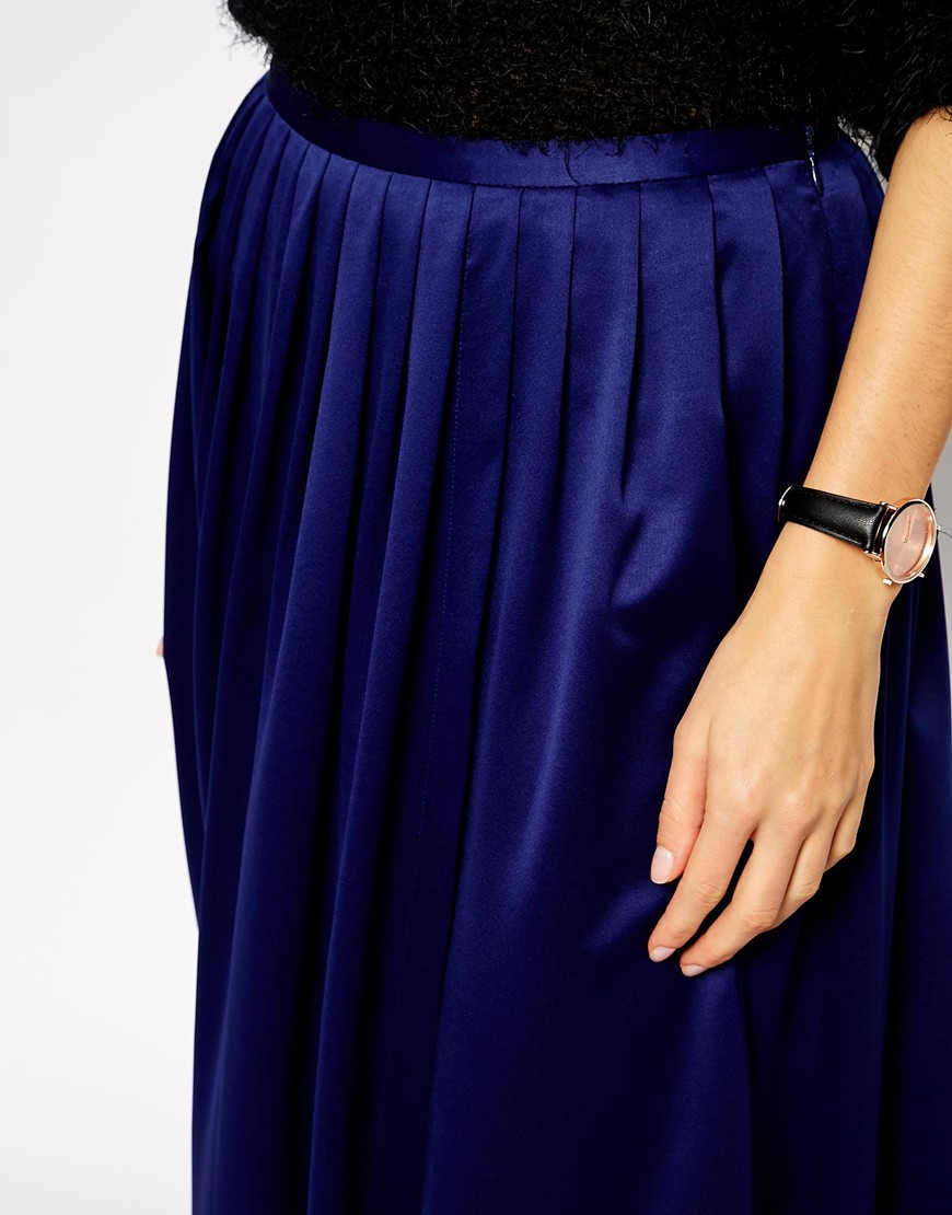 asos maxi skirt with soft split in blue lyst