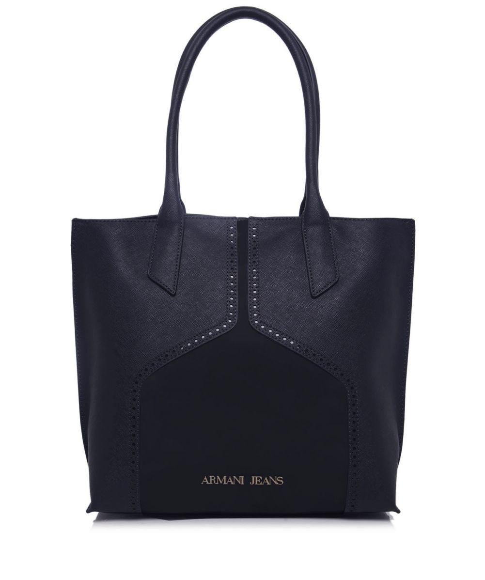 armani jeans patent brogue shopper bag in blue. Black Bedroom Furniture Sets. Home Design Ideas
