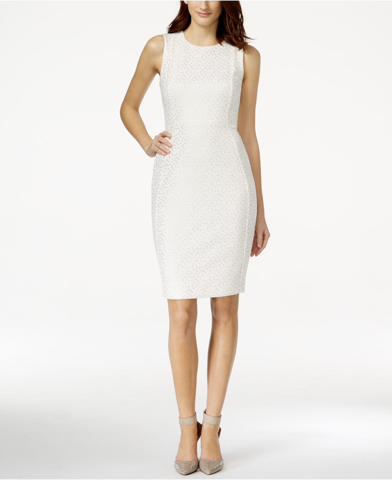 Calvin Klein Petite Gold Dot Sheath Dress In Natural | Lyst