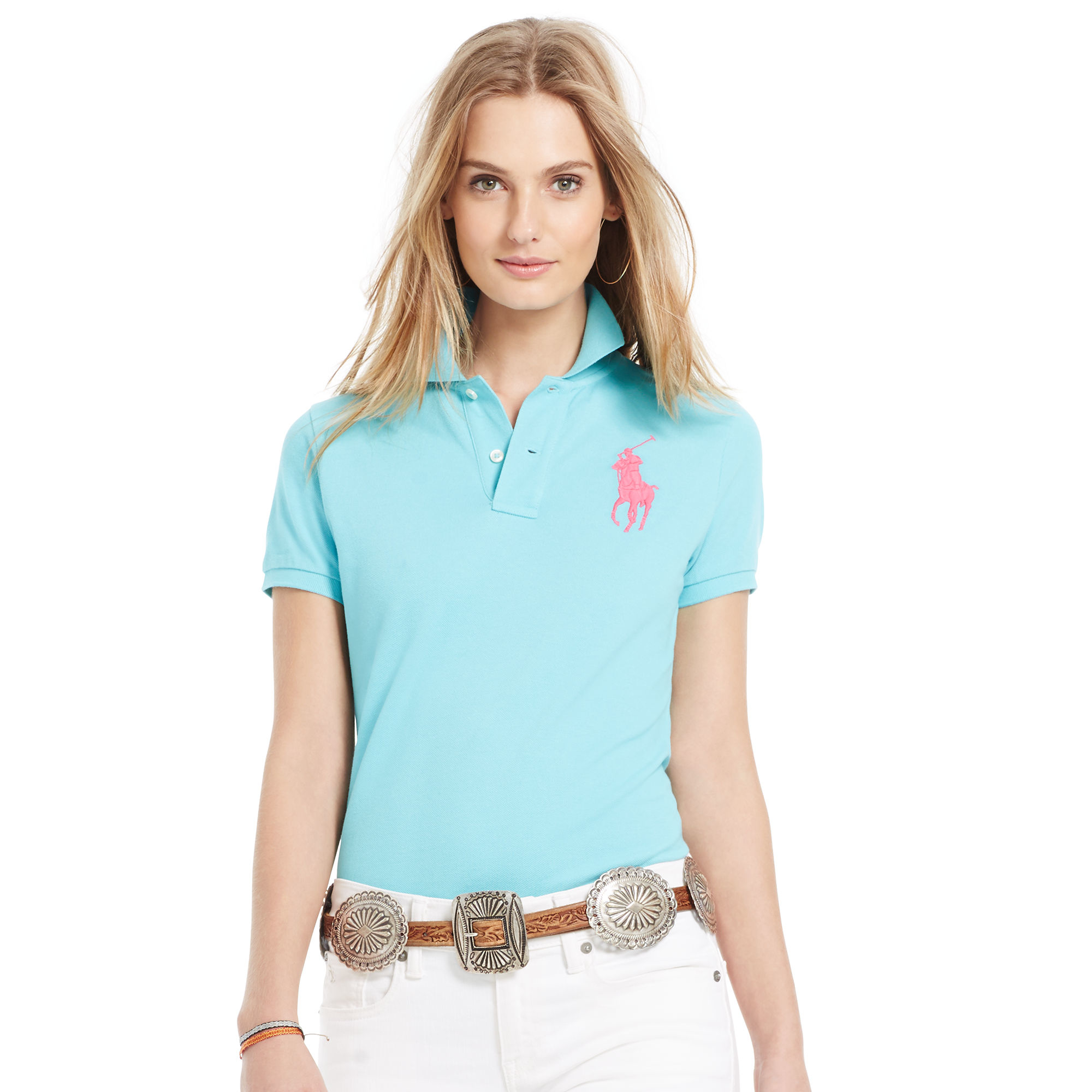 2af69c58 Polo Ralph Lauren Skinny-fit Big Pony Polo Shirt in Blue - Lyst