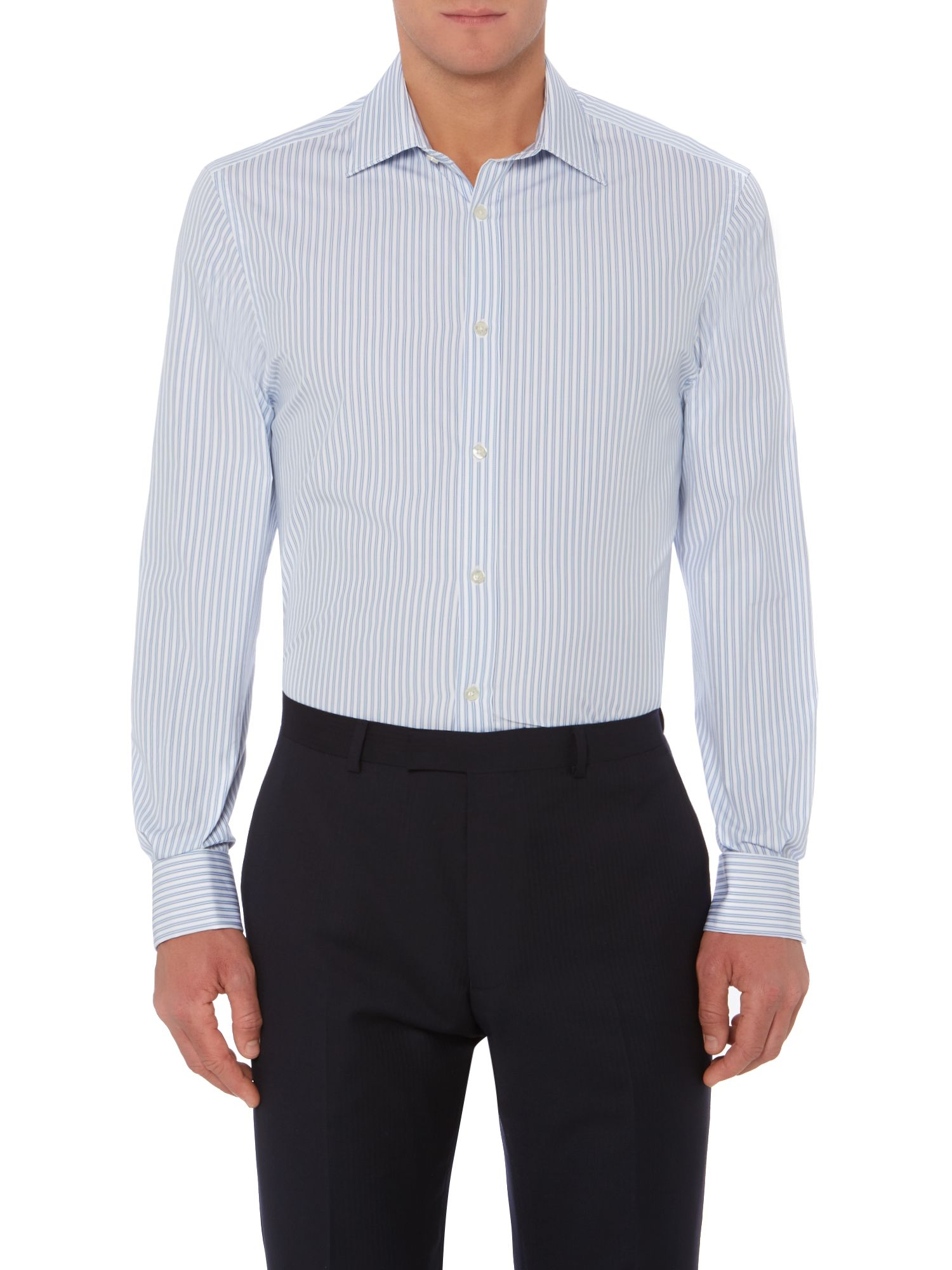 Howick Forest Soft Stripe Double Cuff Shirt in Sky Blue (Blue) for Men