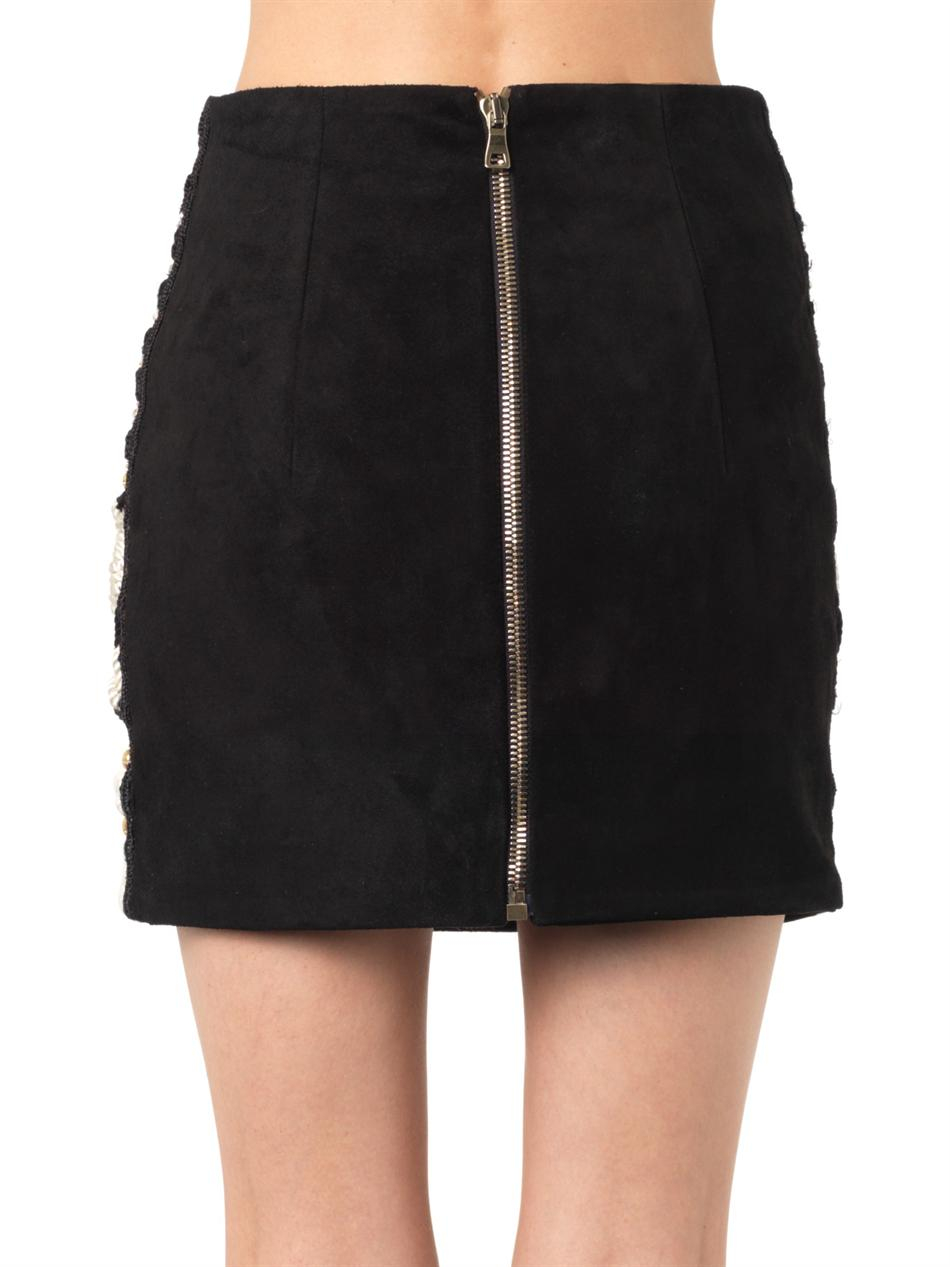 Lyst - Balmain Embellished Suede Mini Skirt in Black