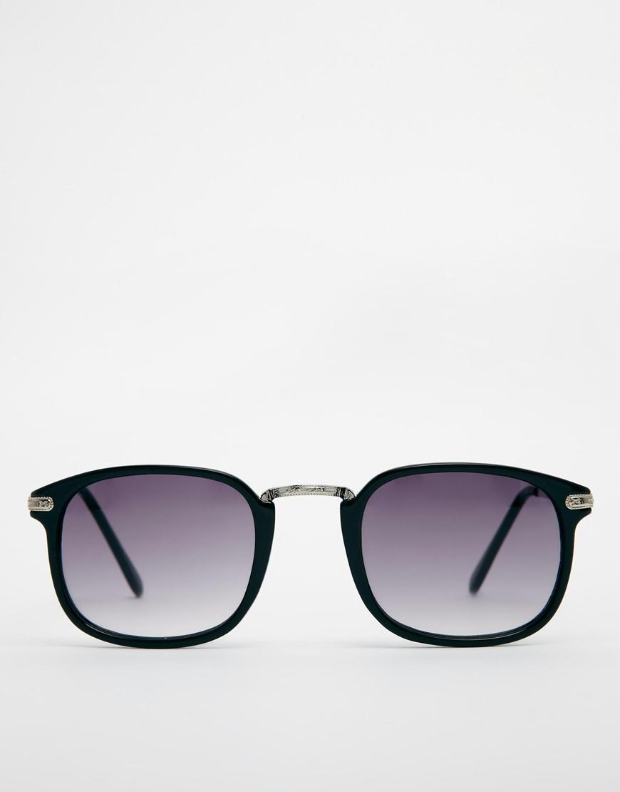 575847f54d Lyst - ASOS Square Sunglasses with Silver Metal Nose Bridge in Black ...
