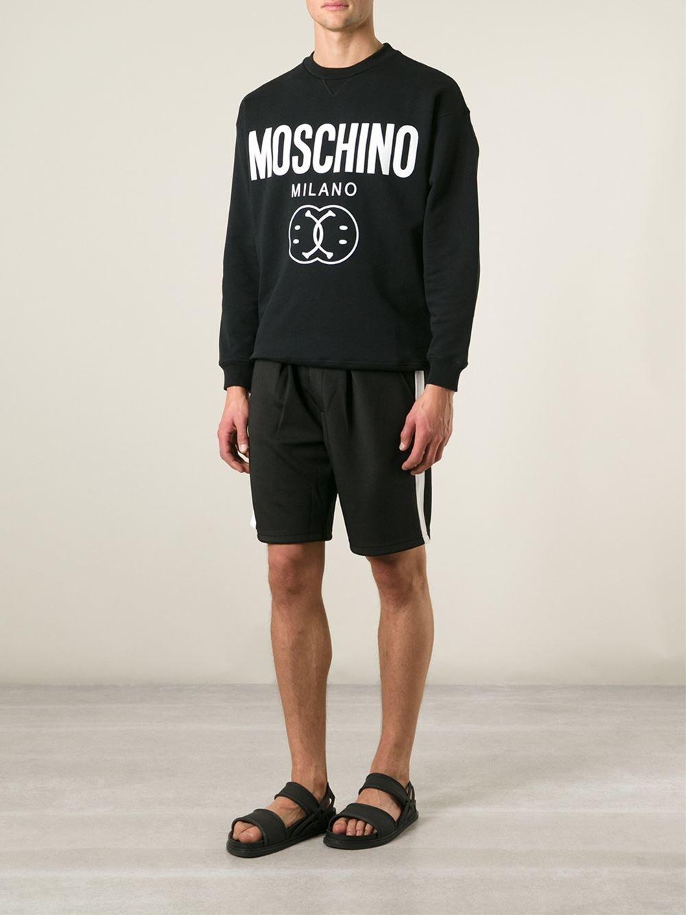Moschino Smiley And Logo Print Sweatshirt in Black for Men
